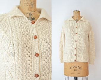 1970s Irish Fisherman's Sweater / 70s Cream Cable Knit Wool Cardigan
