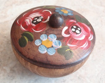 Wooden Box Hand Painted Lidded Trinket Box Made in Brazil Brazilian Vintage E0089