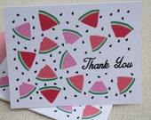 Illustrated Red  Watermelon Slices Pattern Thank You Card Stationery Set  - 8 Cards and Envelopes