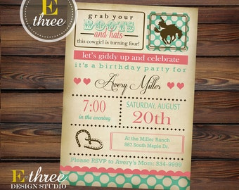 Cowgirl Birthday Party Invitation - Vintage Horse Girl's Party - Shabby Chic Invitations