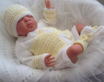 Baby Knitting Pattern - Download PDF Knitting Pattern - Newborn Baby Boys/Girls or Reborn Dolls - Sweater Set