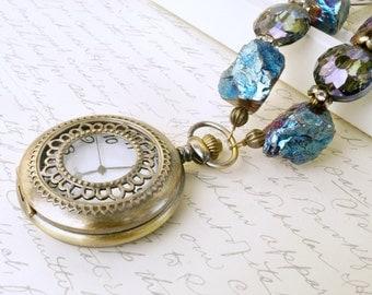 Enchanting Blue Pocket Watch Necklace, Titanium Plated Quartz