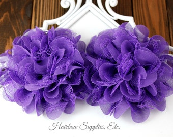 Purple Petite Lace Chiffon Flowers 3.5 inch - Choose 1-24 flowers - Hairbow Supplies, Etc.