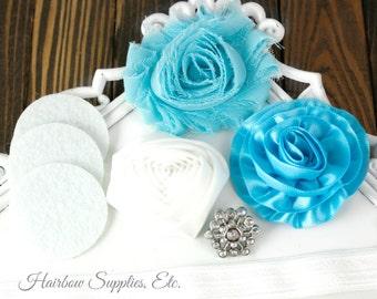 Aqua, Turquoise and White Headband Kit - Snowflake Button - Aqua, Turquoise and White Flowers - Hairbow Supplies, Etc.