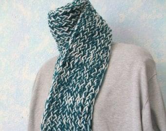 Winter scarf, handknit, white, teal, item WO6