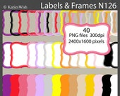 Bright Labels and Frames Digital Clip Art Kit of PNG files for invites, card making, digital scrapbooking  N126