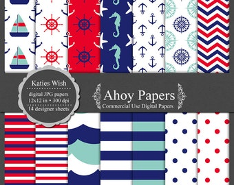 Nautical digital paper kit Ahoy, small commercial use ok instant download file for digital scrapbooking, invites, card making