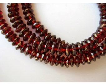 Garnet Beads, Mozambique Garnet, Rondelle Beads, Garnet Rondelles, German Cut, 6-8.5mm Beads, 14 Inch Strand