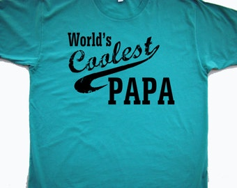 Fathers day gift PAPA tee - World's Coolest Papa, Grandpa, Opa - You personalize- S-2XL American Apparel 6color choices
