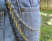 Jean Jewelry Jean Chains  Silver Black and Gold mixed metal chains J 8