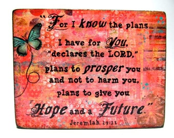 Jeremiah 29:11 -  Mini Print Mounted on Wood - Small Art - Gift Bag Included