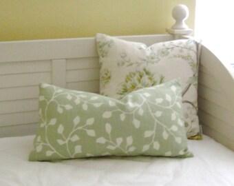 Sarah Richardson for Kravet Woodlawn in Celadon Linen Designer Lumbar Pillow Cover