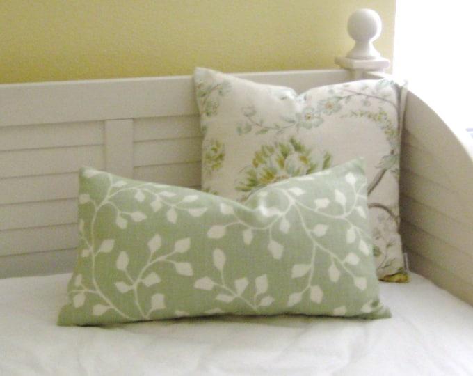 Kravet Woodlawn in Celadon Linen Designer Lumbar Pillow Cover
