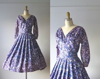 SALE vintage 1950s dress / 50s dress / Lavender Fields