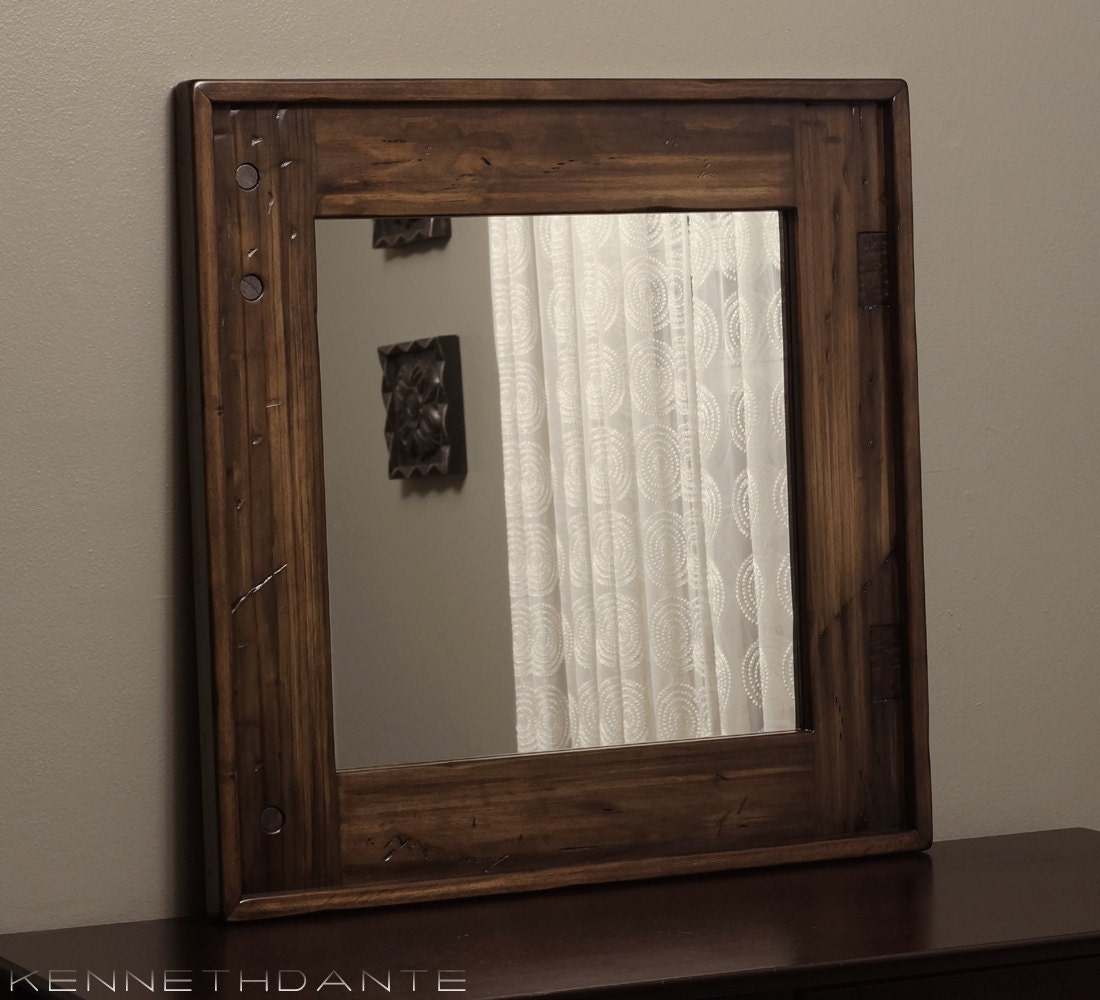 Square Wood Mirror Distressed Frame Streaky By Kennethdante