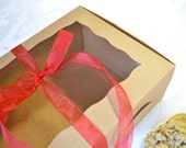 Brown Kraft Bakery Box with Window Display for Cookies, Cupcakes, Treats, Eco Friendly