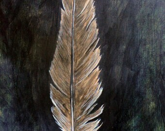 Brown Bird Feather Painting