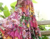 Printed Cotton Long Tiered Skirt - SSY0314-2