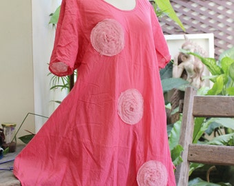 L-XXL Roomy A-Shape Tunic - Short Sleeves - Peachy Pink