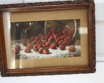 Print Strawberries Primitive Baskets Fresh Berries Glass of Wine Antique Frame Vintage Farm