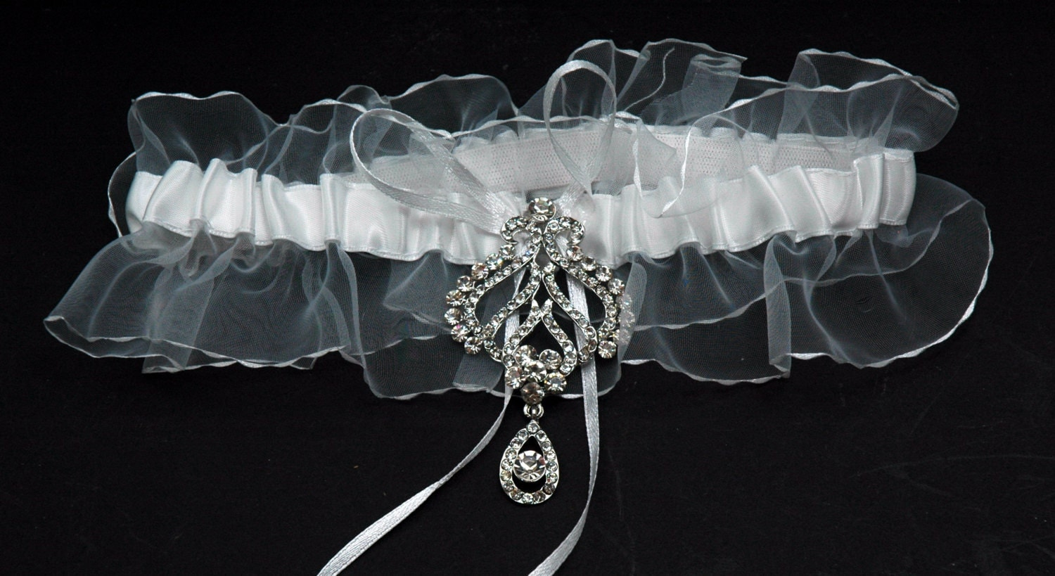 Wedding Garter Bridal Garter Belt White Lace Crystal Garter