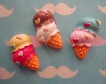 Kawaii double scoop ice cream cone cabochon decoden deco diy    3pcs---USA seller