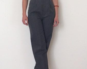Vintage 90's // High Waist Pleated // Charcoal Pants