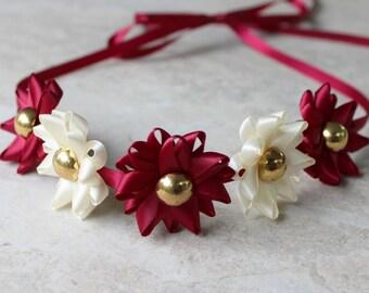 Ribbon Flower Headband, Choose your Colors, Burgundy Headband, Maroon Headband, Maroon and Ivory Flower Girl Headband, Ribbon Tie Headband