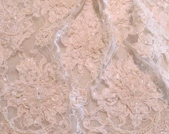 """White Beaded and Appliqued Floral Pattern French Alencon Lace Trim 18"""" Wide--One Yard"""