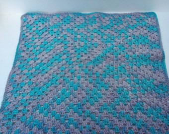 Hand-dyed crochet mini blanket for baby or doll, photography prop, lovey or security blanket