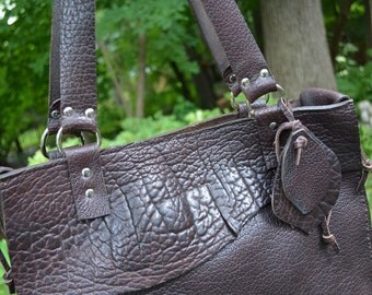 Bison Leather Tote- Leather tote - Brown leather tote - Unique Tote