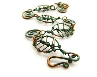 Bohemian Patina Copper Leaf and Coils Bracelet with Verdigris (Green) Patina Rustic Nature Jewelry