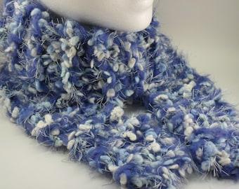 Blue Frost Quadruple Knit Chunky Skinny Scarf OOAK