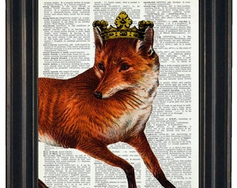 BOGO 1/2 OFF Print on Dictionary Royal Fox Dictionary Art Print Wall Art Print Upcycled HHP Original Design and Concept