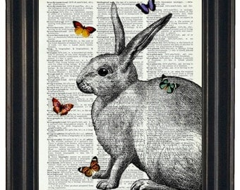 BOGO SALE Rabbit Dictionary Art Print with HHP Signature Butterflies Wall Decor Dictionary Print Book Page Print
