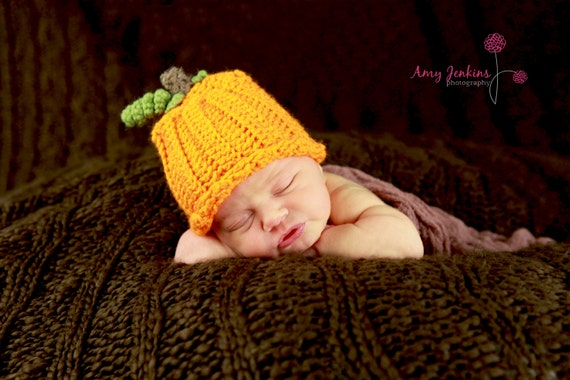 Crochet Fall Pumpkin Hat - Made to Order - Photography Prop