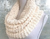 Pattern Knitted Chunky Cowl Infinity Scarf Knitting Pattern Craft Party Circle Loop, Beginner Scarf DIY Gift