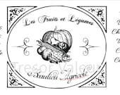 Vintage Chic French Typography Fruits and Vegetables Advertisement.  Downloadable File.