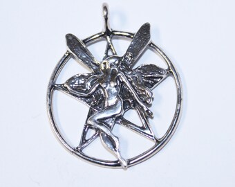 Large FAIRY Pentacle Pentagram Witchy Faery Wicca  Jewelry Sterling Silver Pent012