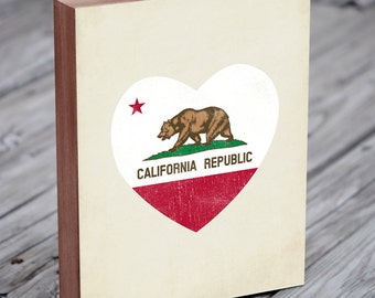 California Flag - California Art - California Flag Art - Wood Block Art Print