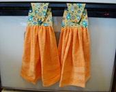 Orange birdies hanging kitchen towel set (2 towels) - ready to ship