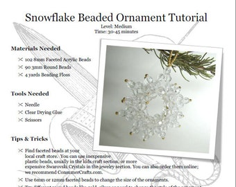 Snowflake Beaded Ornament Tutorial: PDF Download