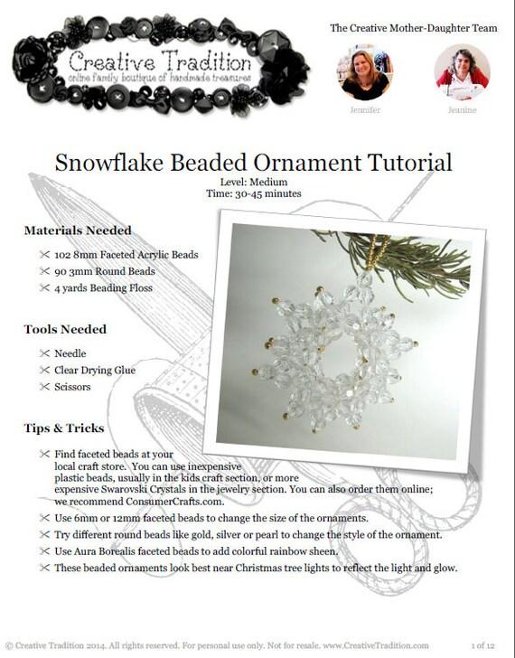 Snowflake Beaded Ornament Tutorial PDF Download