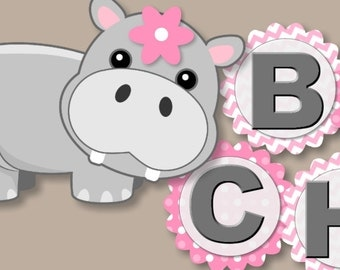Hippo Baby Shower or Birthday Party Decoration - BANNER