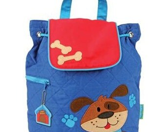 SHIPS NEXT DAY--Personalized Monogrammed --New Pattern-- Stephen Joseph Kid Quilted Dog Bone  Backpack--Free Monogramming--