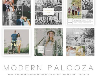 INSTANT DOWNLOAD  Modern Palooza Blog, Facebook and Instagram Sneak Peek Templates vol 1