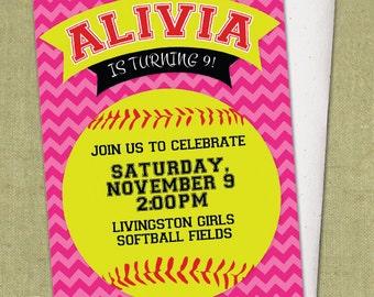 Chevron Softball Invitation - DIY Printable - Birthday Party Invite