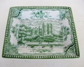 Green and White Transferware, Andrea by Sadek Toile Valet Dish, English Country, Downton Abbey