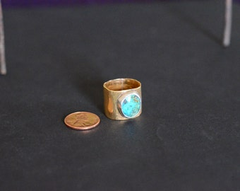 Nugold and Silver Mixed metal, wide band turquoise ring