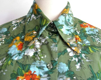 Vintage 1970s Blouse Green Blue Floral Top 70s Jersey Blouse Large